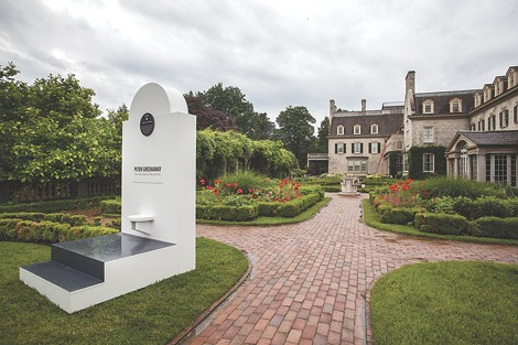 """Installation view of one of three stairs installed on the grounds of George Eastman House, as part of the """"Peter Greenaway — Stairs 1: Geneva, - the Location"""" exhibition. - PHOTO PROVIDED"""