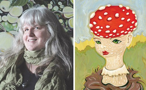 "Left: Artist Lucinda Storms in front of one of her largescale paintings of apples. Right: Storms' painting, ""Amanita M."" - PHOTOS PROVIDED"