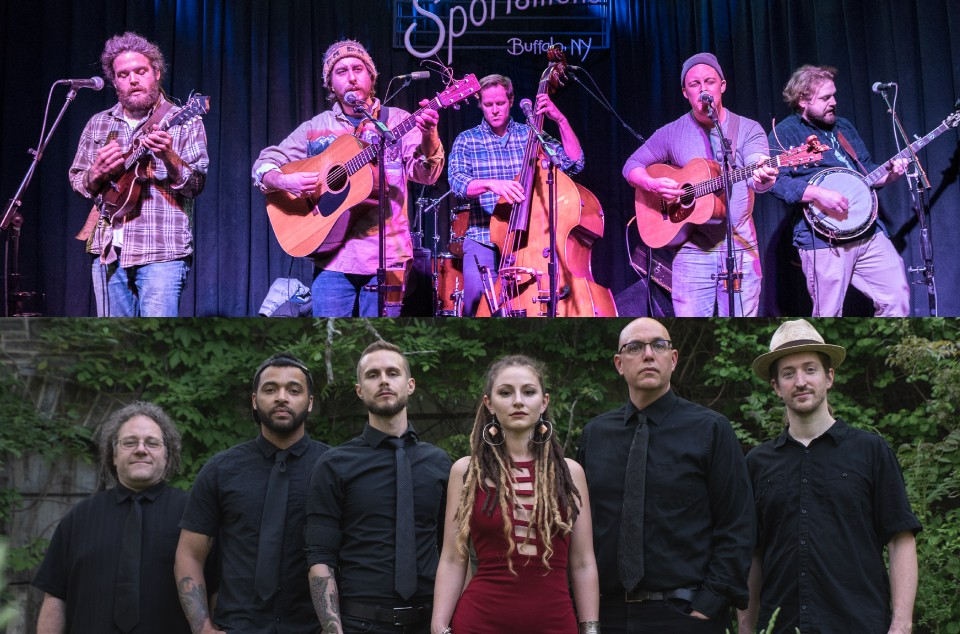 Canandaigua's raucous alt-bluegrass outfit Dirty Blanket (top) and the populist reggae band Root Shock from Syracuse (bottom)  are among the artists to play the 2019 Finger Lakes GrassRoots Festival. - PHOTOS PROVIDED