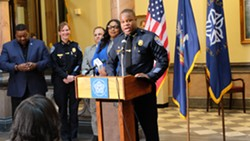 La'Ron Singletary, Rochester's police chief designee, at today's press conference. - PHOTO BY JAMES BROWN, WXXI