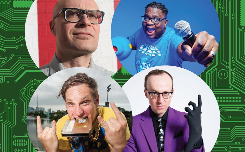The Mount Nerdcore Tour consists of (clockwise from top left) MC Frontalot, Mega Ran, Schäffer the Darklord, and MC Lars. - MC FRONTALOT PHOTO BY JASON SCOTT; MEGA RAN PHOTO PROVIDED; SCHÄFFER THE DARKLORD PHOTO PROVIDED; MC LARS PHOTO BY NICK KARP