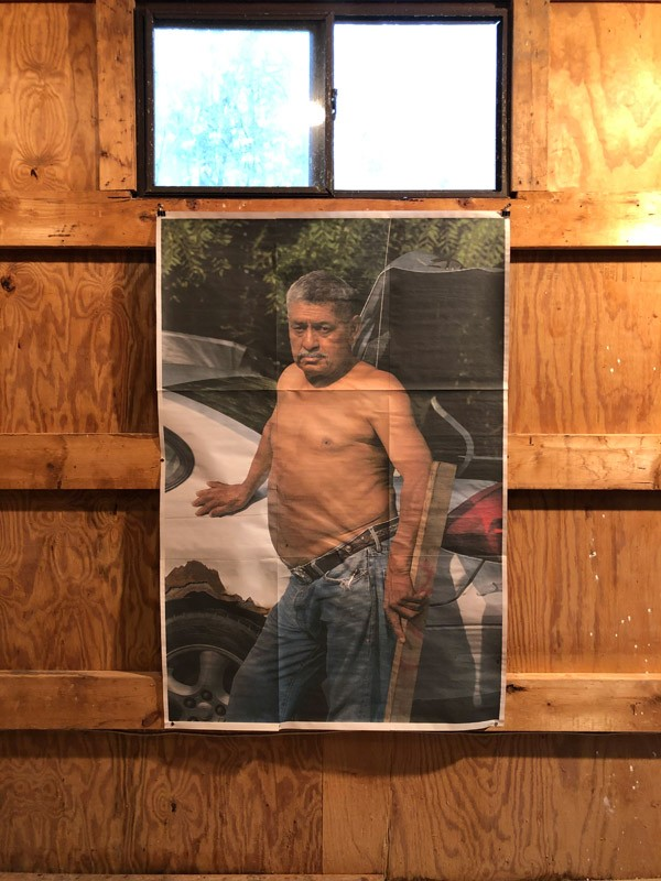 """Juan Madrid says his Salvadoreño and Hudson Valley roots culminate in a fragmented photo of his father """"that speaks to cultural clashing and the walls a portrait faces in telling the fullness of a person's history."""" Madrid's work is part of """"Verified,"""" on view at Loud Cow through June 15. - PHOTO BY REBECCA RAFFERTY"""