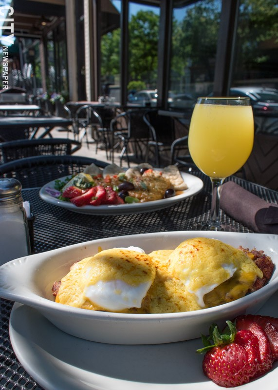 The house-made hash benedict and mimosa at Jines. - PHOTO BY RENÉE HEININGER