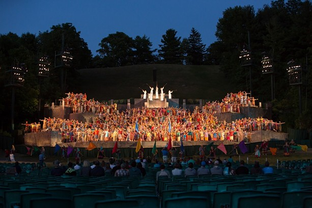 The Pageant began in 1937 as a production lit by car headlights; now it has a seven-tier steel stage built into the side of the hill, state-of-the-art special effects that simulate lightning and fire, 12 theatrical lighting and sound towers rising 50 feet into the air, and a completely volunteer cast of 770 people playing more - than 1,200 roles. - PHOTO COURTESY MATT BARR, HILL CUMORAH PAGEANT