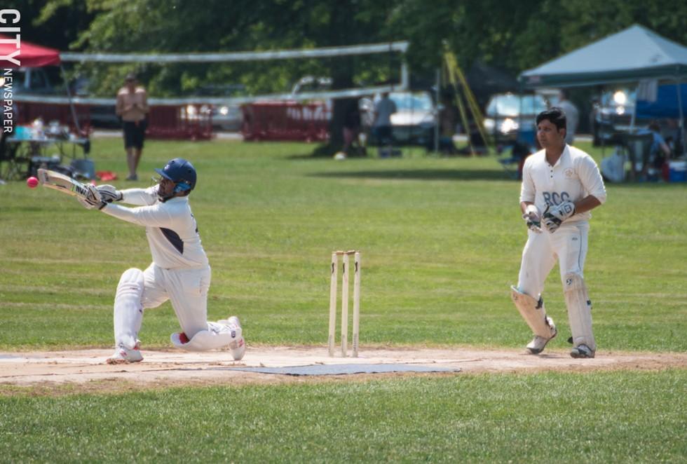 A Buffalo player hits the ball as keeper Ramakant Desani watches. - PHOTO BY JACOB WALSH