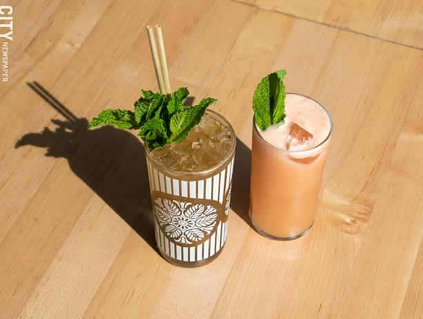 The Amaro Swizzle and Fluffy Greyhound are part of Vern's cocktail program, which also includes low-ABV and no-alcohol options. - PHOTO BY JACOB WALSH