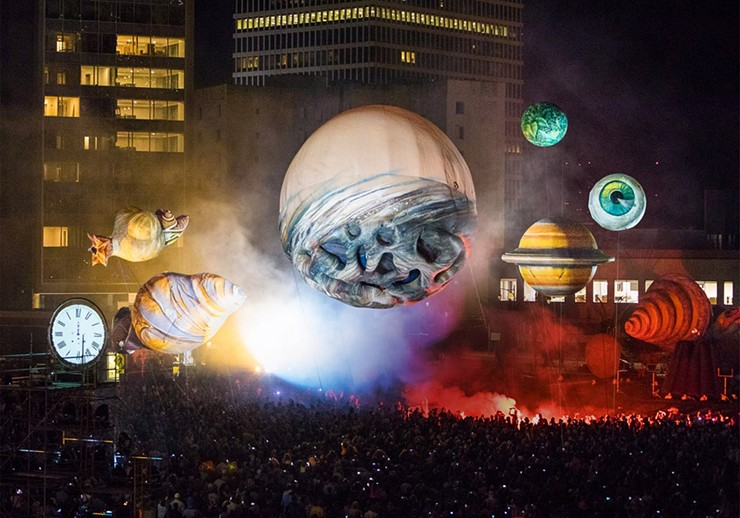 """French street theater troupe Plasticiens Volants amazed crowds in 2017 with its immersive """"Big Bang"""" show at Parcel 5. The group returns to Rochester this year with a new presentation on Friday and Saturday on the Fringe, September 13-14. - PHOTO BY JOHN SCHLIA"""