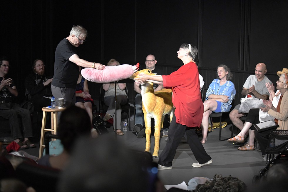 Borek (standing, left) performed his freeform theater show on opening night of Rochester Fringe 2019. - PHOTO BY CATHERINE RAFFERTY