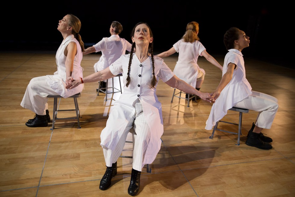"Meredith Monk (center) and members of her Vocal Ensemble (left to right) — Katie Geissinger, Ellen Fisher, Allison Sniffin, and Jo Stewart — take part in the University of Rochester residency ""Dancing Voice/Singing Body,"" October 20 through 23. - PHOTO BY JULIETA CERVANTES"