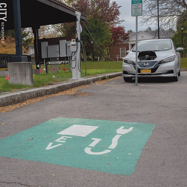 The Village of Fairport installed public charging stations for electric vehicles in the municipal parking lot at Fairport Landing. - PHOTO BY RENÉE HEININGER