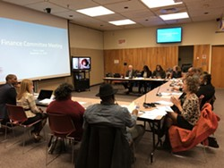 The Rochester School Board Finance Committee on Tuesday night. - PHOTO BY RANDY GORBMAN, WXXI NEWS
