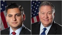 The Monroe County Legislature's Republican Majority Leader Brian Marianetti and its president, Republican Joseph Carbone.