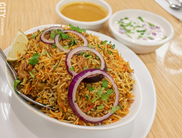 Hyderabad offers biryani in several varieties, including the vegetable (pictured). - PHOTO BY JACOB WALSH