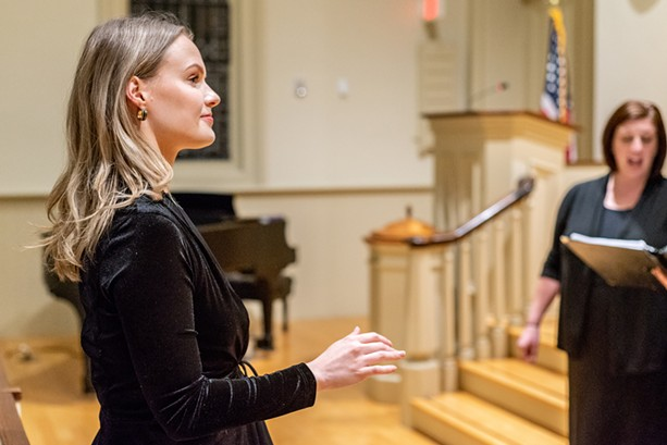 Concentus' Music Director Anna Atwater (left). - PHOTO BY MICHEL GODTS