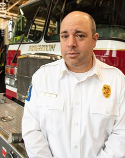 """Brighton Fire Chief Aaron Hiller said town fire officials were concerned about """"particularly aggressive"""" speedhumps on Brooklawn Drive because of their potential to slow response times. - PHOTO BY JACOB WALSH"""