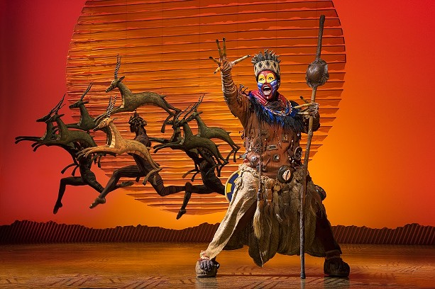 """Buyi Zama as Rafiki in """"The Lion King,"""" currently being staged at The Auditorium Theatre. - COPYRIGHT DISNEY / PHOTO BY DEEN VAN MEER"""