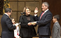County Executive Adam Bello took the oath of office on Saturday, January 4. His election as county exec left the county clerk seat vacant and a potential Democratic primary is developing around the opening. - PHOTO BY MAX SCHULTE
