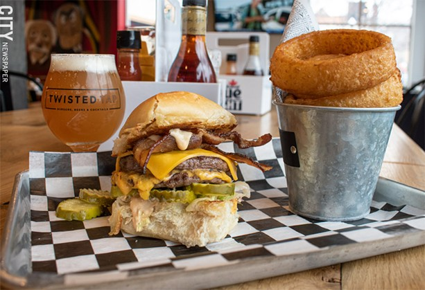 The Statler burger with onion rings and a brewski. - PHOTO BY JACOB WALSH