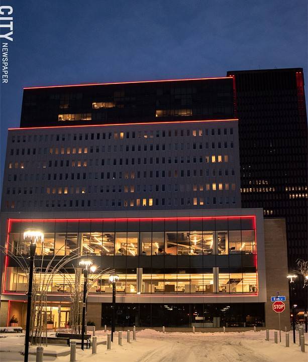 Tower 280 was lit up in red in honor of Susan B. Anthony's birthday. - PHOTO BY RYAN WILLIAMSON