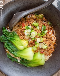 Dan dan noodles with pork and bok choy. - PHOTO BY JACOB WALSH