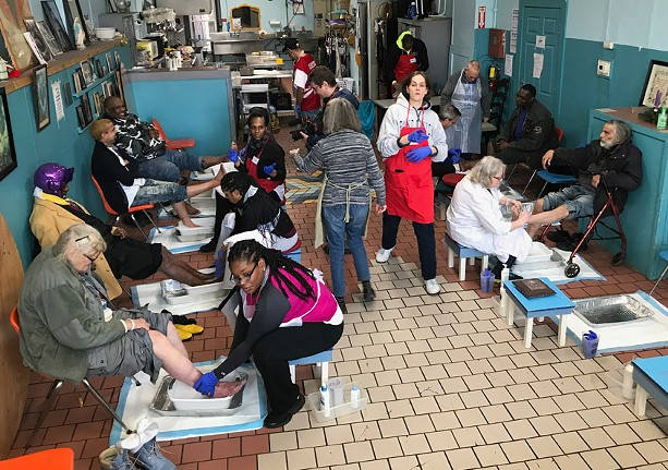 The foot clinic at St. Joseph's House of Hospitality in action on February 23, 2020. - PHOTO BY DAVID ANDREATTA