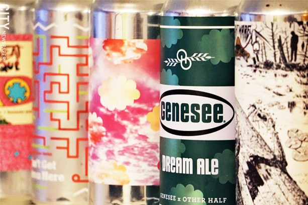 Left to right: Don't  Sweat the Technique by Barrier Brewing and Other Half, You Can't There From Here by Burlington Beer Co., Triple Mosaic Daydream by Other Half, Dream Ale by Genesee and Other Half, Scaphism by Nightmare Brewing Company. Not all of these are IPAs. - PHOTO BY GINO FANELLI