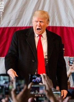 Republican presidential candidate Donald Trump during a Rochester-area rally in 2016. - FILE PHOTO