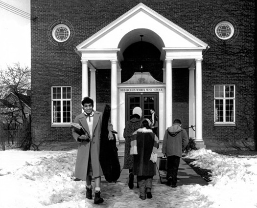 Students outside the school's Hoeltzer Street location, circa 1960. - COURTESY OF THE HOCHSTEIN SCHOOL