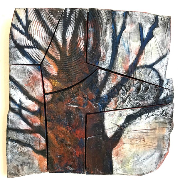 """""""Mendon Monument,"""" a work in ceramic and encaustic by Nancy Valle. - PHOTO BY BRADLEY BUTLER"""