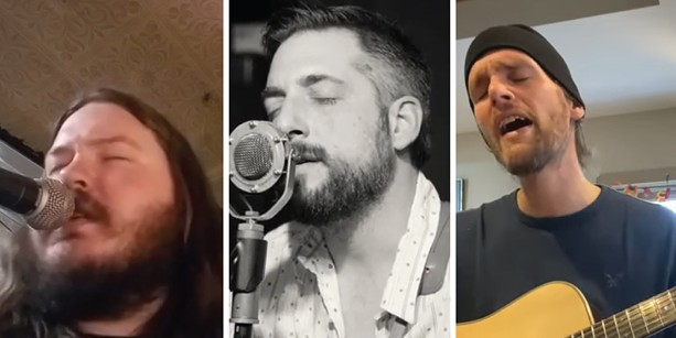 """Tyler Westcott (left) and Rædwald Howland-Bolton (right) have each covered """"Serenity Song"""" by Benny Bleu (center), as part of the Rochester Local Music Quarantine Challenge. - SCREENSHOTS VIA YOUTUBE"""
