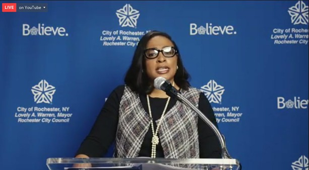 Rochester Mayor Lovely Warren on May 5, 2020, announced dramatic staff reductions in response to the COVID-19 pandemic. - PHOTO BY DAVID ANDREATTA