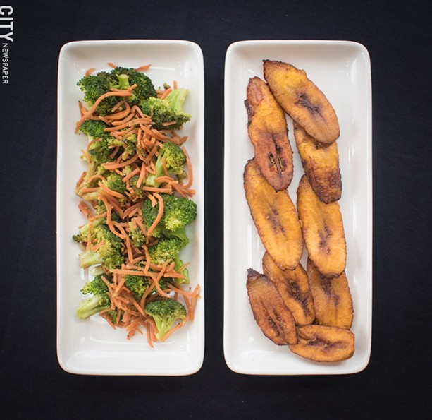 The broccoli and carrots plate and fried plantains at Caribbean Heritage Restaurant. - FILE PHOTO