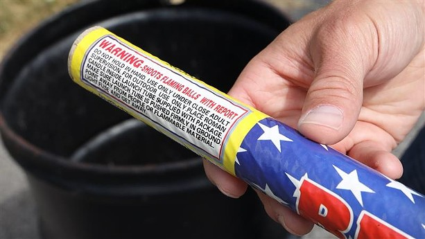 """An example of an illegal firework was found in a trash can in the South Wedge. Illegal fireworks shoot fireballs and have a """"report,"""" also known as an explosion. - PHOTO BY MAX SCHULTE"""