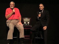 Jack Garner, left, and Hollywood actor Robert Forster, speaking at The Little in 2018. - WXXI FILE PHOTO