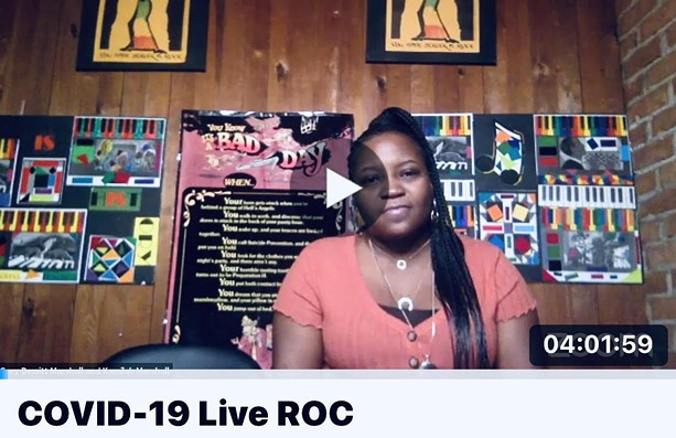 Ashona Pulliam was one of the performers in a 24-hour live streaming fundraiser for the WOC Art Collaborative. - SCREENSHOT FROM COVID-19 LIVE ROC