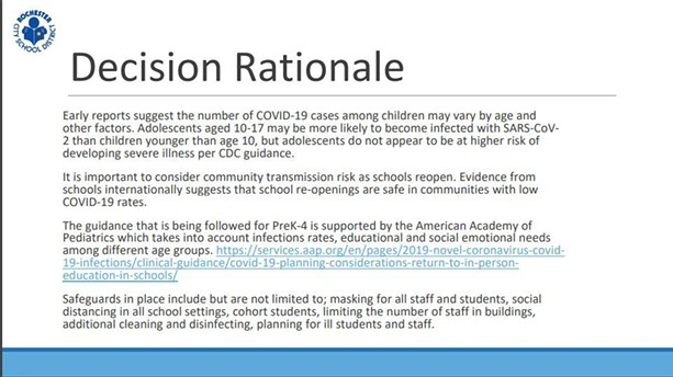 An excerpt of the RCSD's plan to reopen schools in 2020-21. - PHOTO BY JAMES BROWN