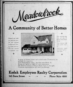"""An ad for  the Meadowbrook subdivision that appeared in the August 31, 1930 Democrat and Chronicle states that the houses were """"planned and built for particular people who demand architectural beauty, sound construction and comfort at moderate cost."""" When Kodak built the neighborhood, it placed racial covenants on the deeds. - IMAGE FROM DEMOCRAT AND CHRONICLE ARCHIVES"""