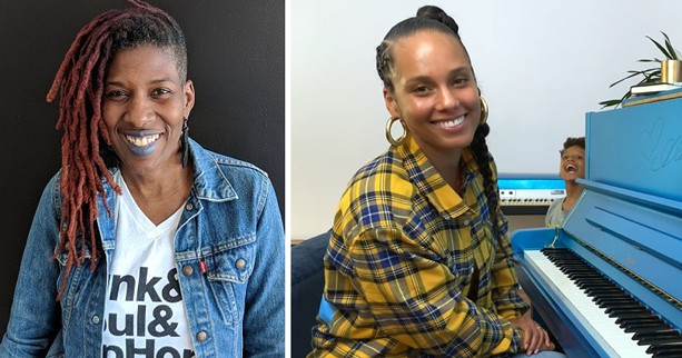 Rochester's Avenue Blackbox Theatre and its director Reenah Golden (left) are the new owners of Alicia Keys' blue Steinway-designed piano. - LEFT: PHOTO BY KURT INDOVINA / RIGHT: YOUTUBE SCREENSHOT