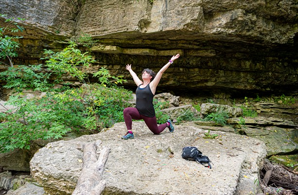 Exercise physiologist and runner Katie Niebuhr gets some fresh air on the Zebulon Norton Trail in Honeoye Falls' Harry Allen Park during the pandemic. - PHOTO BY JACOB WALSH