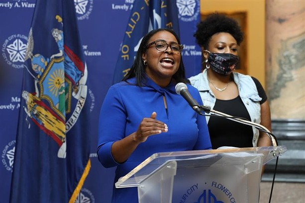 Mayor Lovely Warren told reporters on Thursday, Sept. 3, 2020, that she would work with Rochester City Council to double the capacity of city and county programs for responding to mental health 911 calls. - PHOTO BY MAX SCHULTE