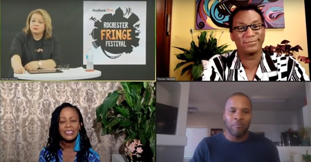 """(Clockwise from top left) Norma Holland, Thomas Warfield, Jason Nious, and Karen Brown participate in the September 16 FringeTalk """"Black Lives Matter & the Performing Arts."""" - SCREENSHOT FROM KEYBANK ROCHESTER FRINGE FESTIVAL"""