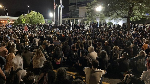 Hundreds of protesters gather in front of the Public Safety Building on Monday night. - VIA WXXI NEWS, CREDIT SPECTRUM NEWS