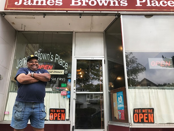 James Brown outside of his namesake diner, James Brown's Place, on Culver Road. - PHOTO BY DAVID ANDREATTA