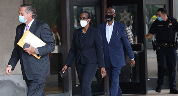 Rosalind Brooks-Harris, finance director of the city of Rochester, and the former treasurer of the Warren for a Strong Rochester political action committee, leaves the courthouse after her arraignment on felony charges related to alleged campaign finance allegations on Oct. 5, 2020. - PHOTO BY MAX SCHULTE