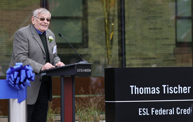 Thomas Tischer, whose name graces the new visitor center at the George Eastman Museum, speaks at Thursday's dedication of the facility. - PHOTO BY MAX SCHULTE / WXXI NEWS