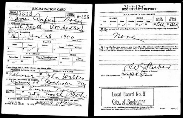 James Noey's military registration card circa 1918. - PHOTO PROVIDED