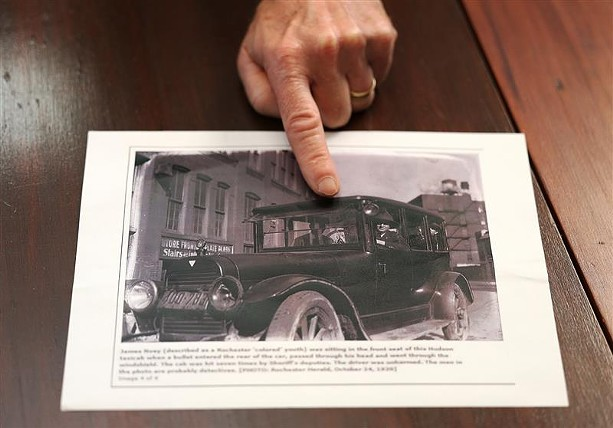 """The Rochester men involved in the so-called """"Fairport Riot"""" of Oct. 20, 1920, arrived in the village in taxicabs like this one, in which James Noey was killed. - PHOTO BY MAX SCHULTE"""