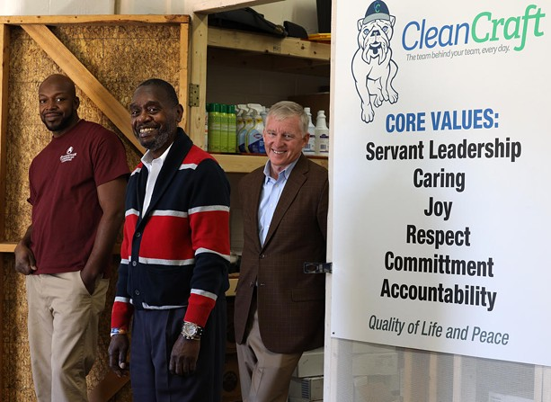 From left, Eddie Chapple, Sanford Coley and Ty Hookway. Chapple was hired at CleanCraft about six years ago, and Coley started at the commercial cleaning company owned by Hookway in the 1990s. - PHOTO BY MAX SCHULTE