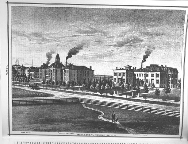 "the Monroe County Almshouse, Insane Asylum, and Penitentiary as depicted in ""History of Monroe County, New York, with Illustrations Descriptive of Its Scenery, Palatial Residences, Public Buildings, Fine Blocks, and Important Manufacturies, from Original Sketches by Artists of the Highest Ability"" by W.H. McIntosh."