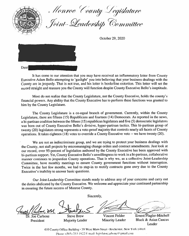 "An Oct. 29 letter from Monroe County Legislature President Joe Carbone accused County Executive Adam Bello of ""gaslighting"" county contractors."